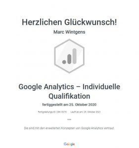 Google Analytics Individuelle Qualifikation