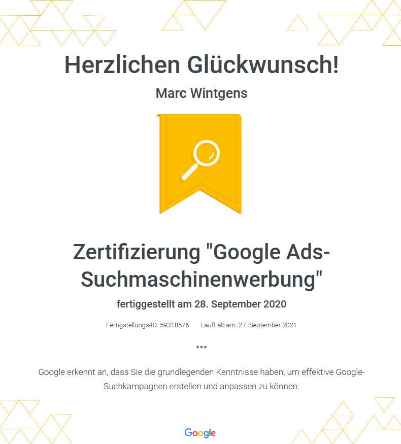 """Agentur Zertifizierung """"Google Ads Suchmaschinenwerbung"""""""